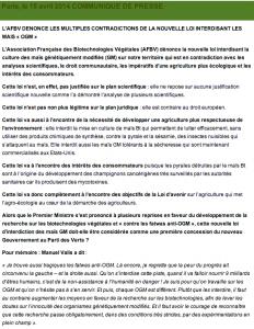 Comunicado AFBV transgenicos francia