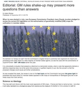 Efectos nueva normativa europea OMGs