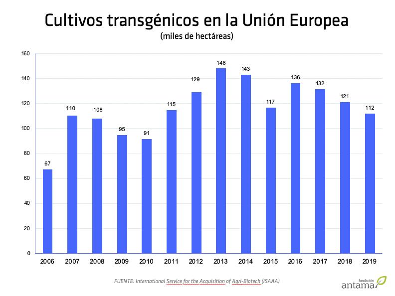 Cultivos biotecnológicos en la Unión Europea (2006-2019)